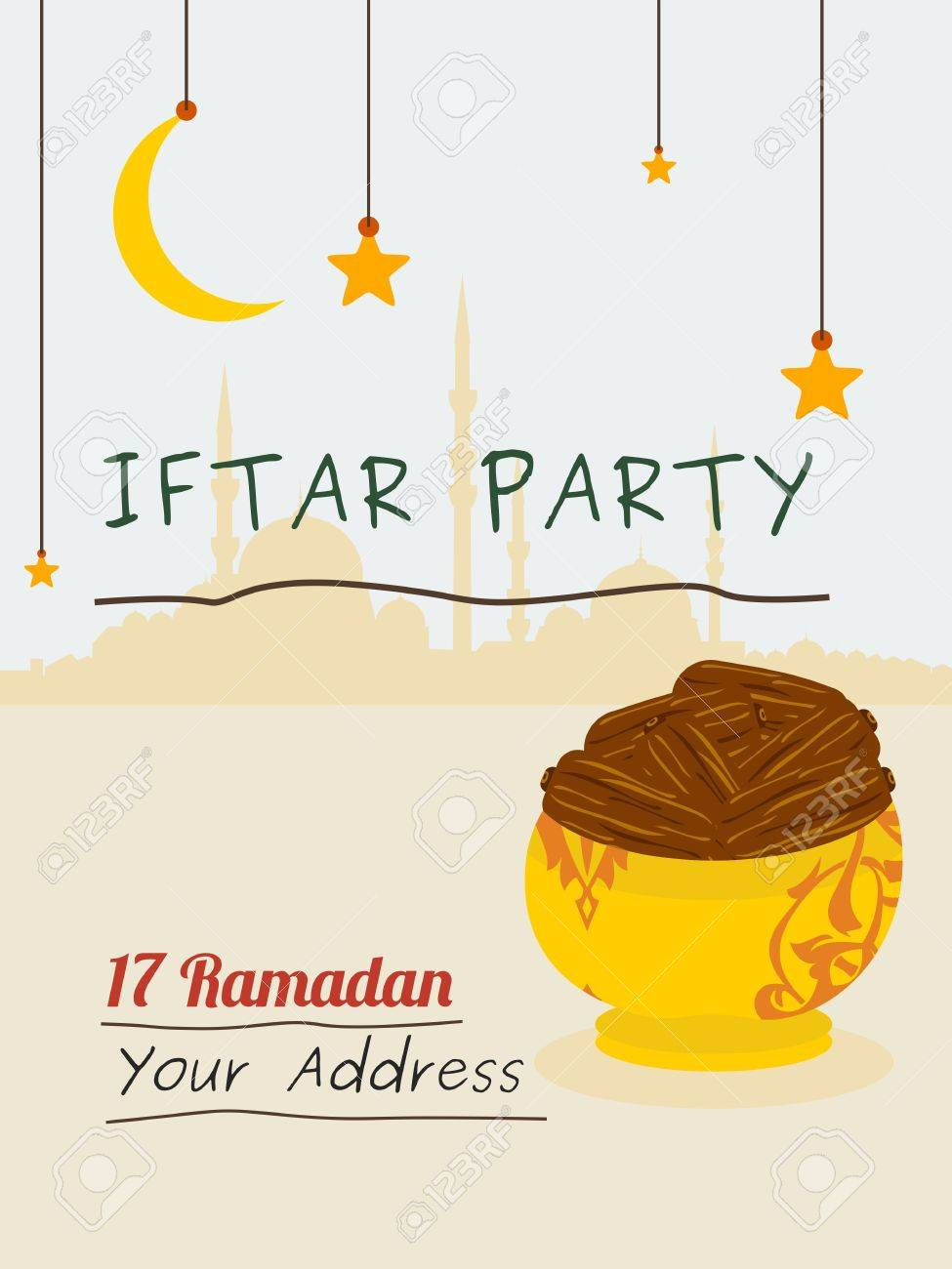 Editable iftar party vector illustration background for poster editable iftar party vector illustration background for poster or invitation template stock vector 79253512 stopboris Gallery