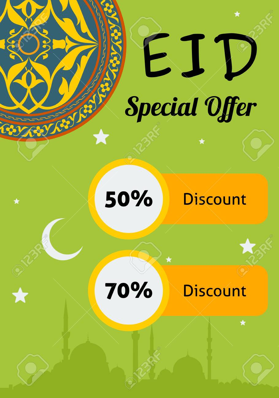 editable eid discount offer poster template royalty free cliparts