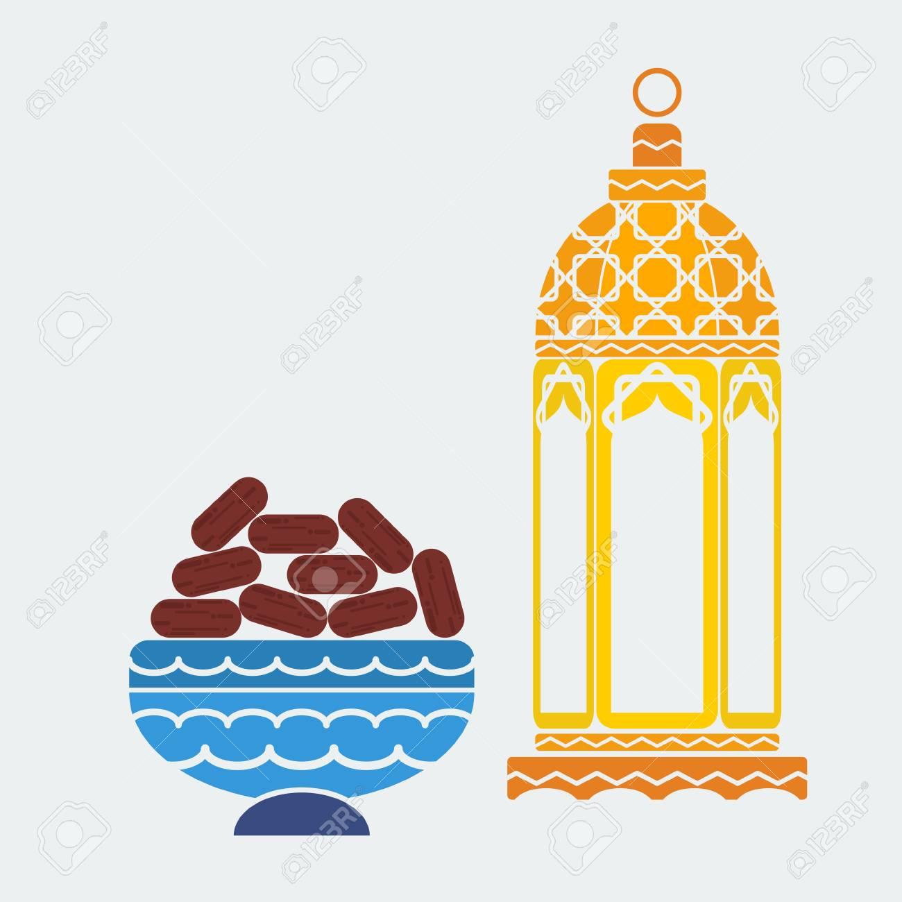 editable arabian lamp and dates fruit vector illustration in