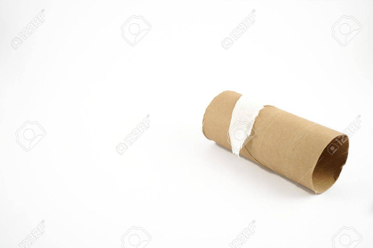 The end of a toilet paper roll on a white background Stock Photo - 8160600