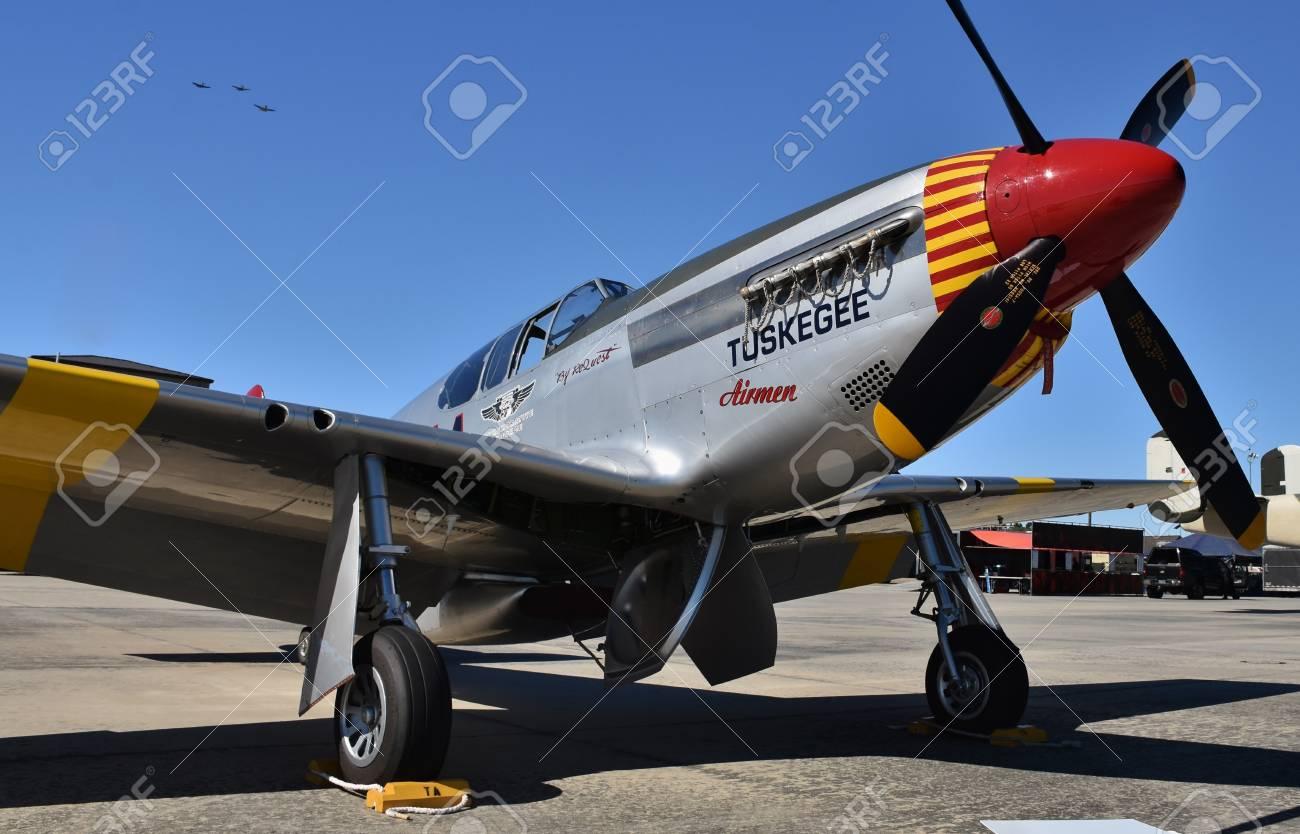 World War Ii Era Tuskegee Airmen P 51 Mustang Red Tail Squadron