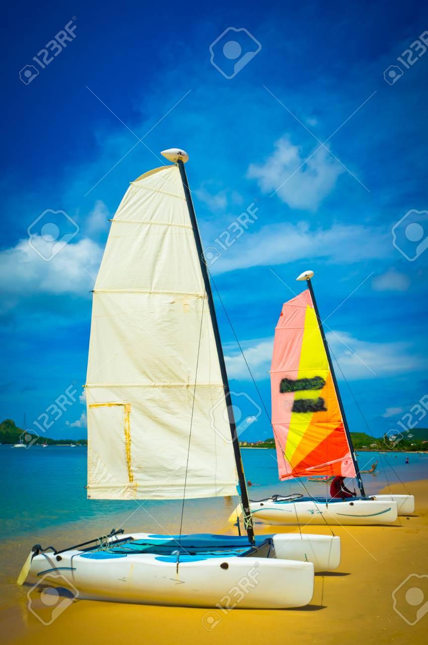 Sailboat at the ocean coast, Saint Lucia, Caribbean Islands Stock Photo - 16928252