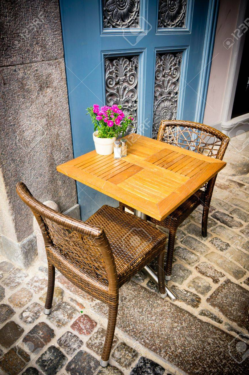 Stock Photo   Vintage Old Fashioned Cafe Chairs With Table In Copenhagen,  Denmark