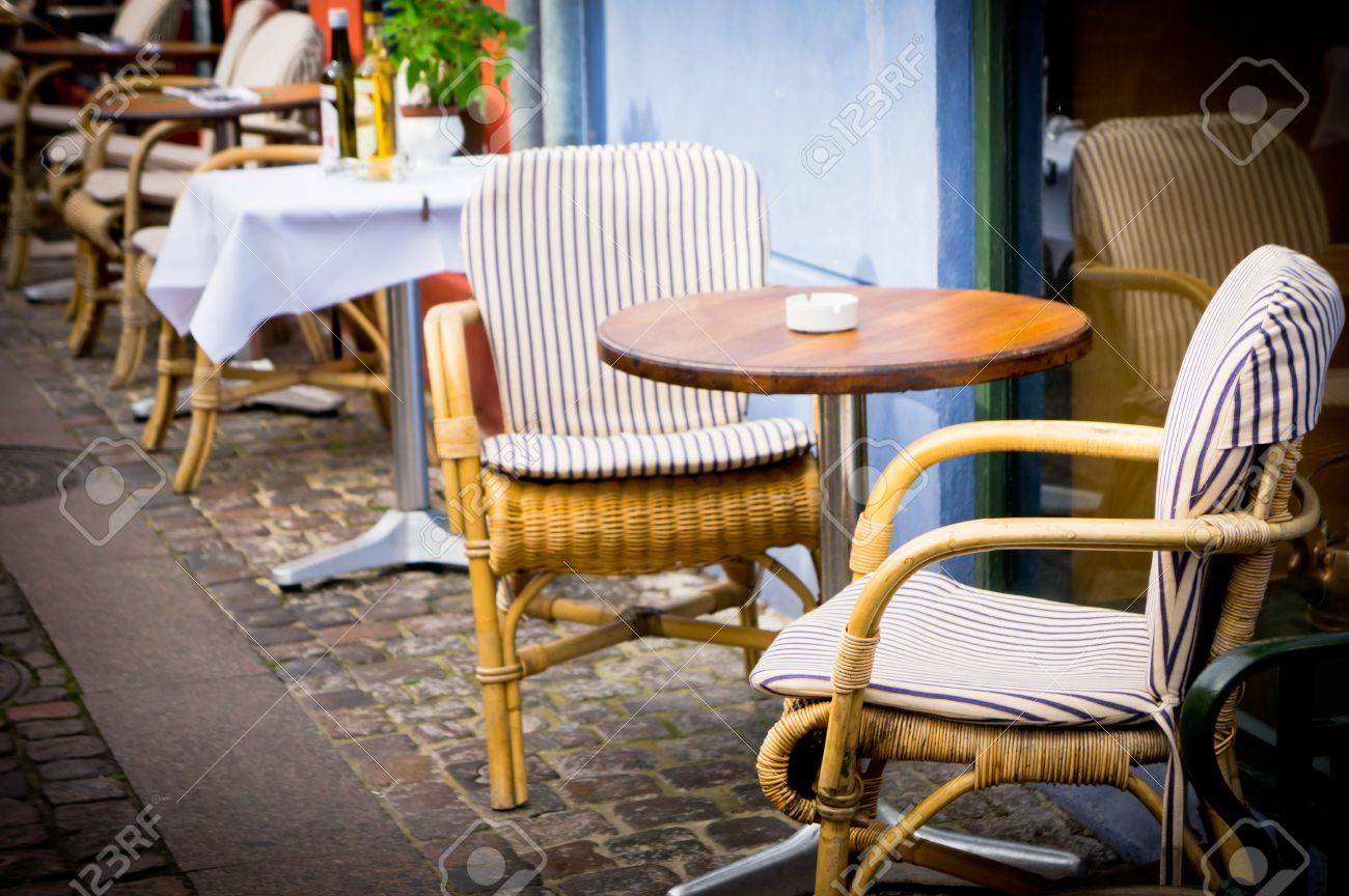 Vintage cafe table and chairs - Stock Photo Vintage Old Fashioned Cafe Chairs With Table In Copenhagen Denmark