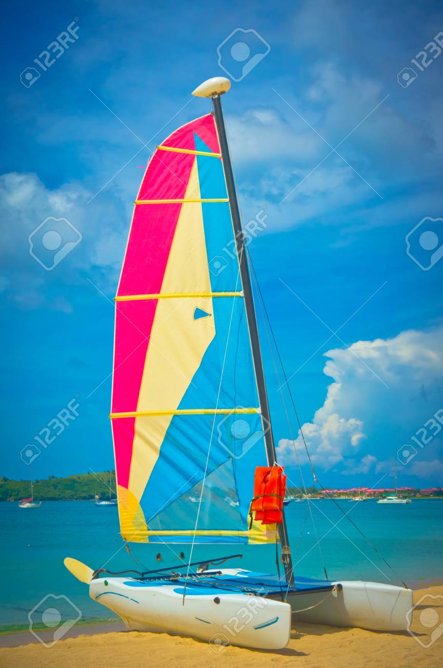 Sailboat at the ocean coast, Saint Lucia, Caribbean Islands Stock Photo - 17423770