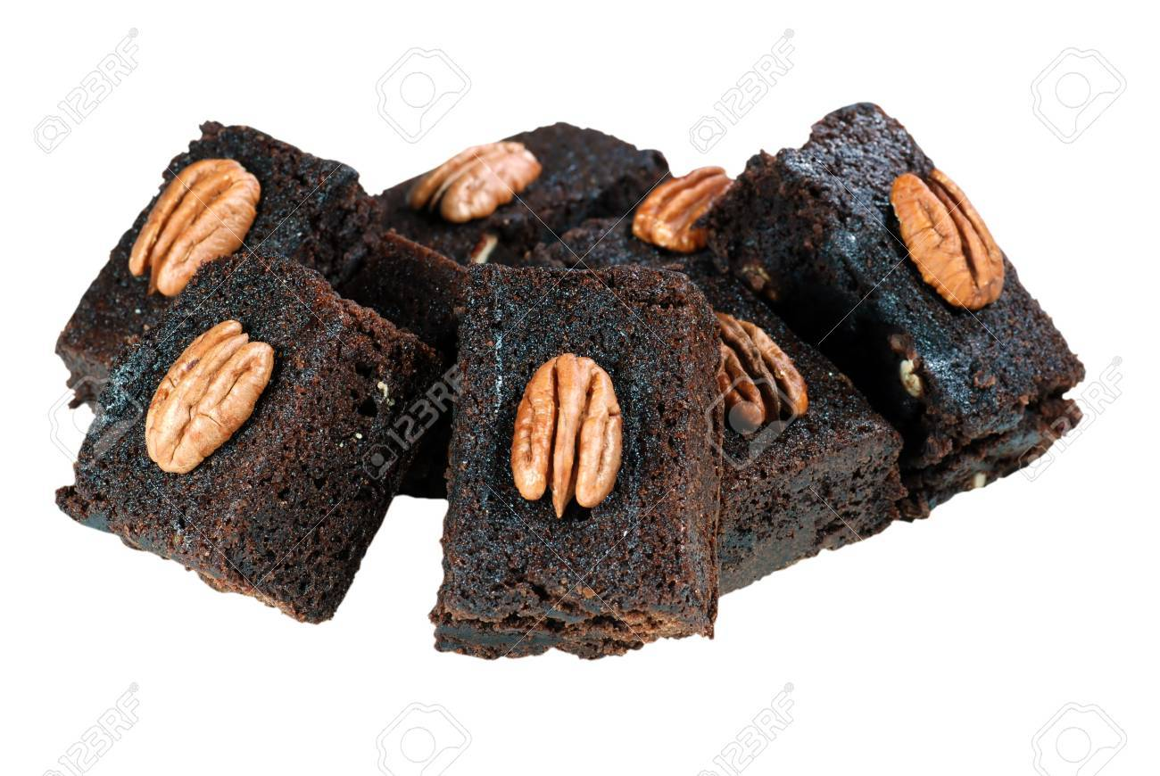 Isolated stack of chocolate pecan brownies on a white background Stock Photo - 5697949