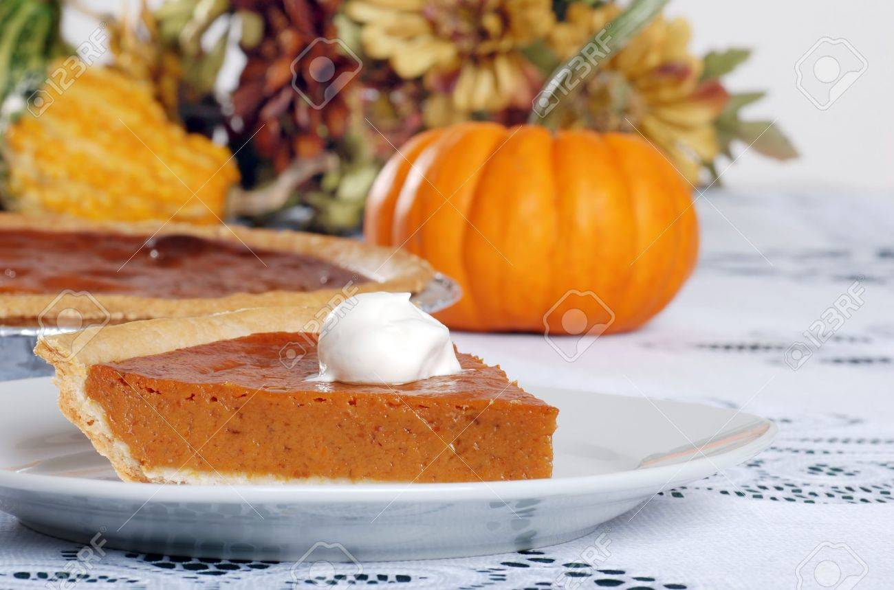 pumpkin pie and whip cream Stock Photo - 5698028