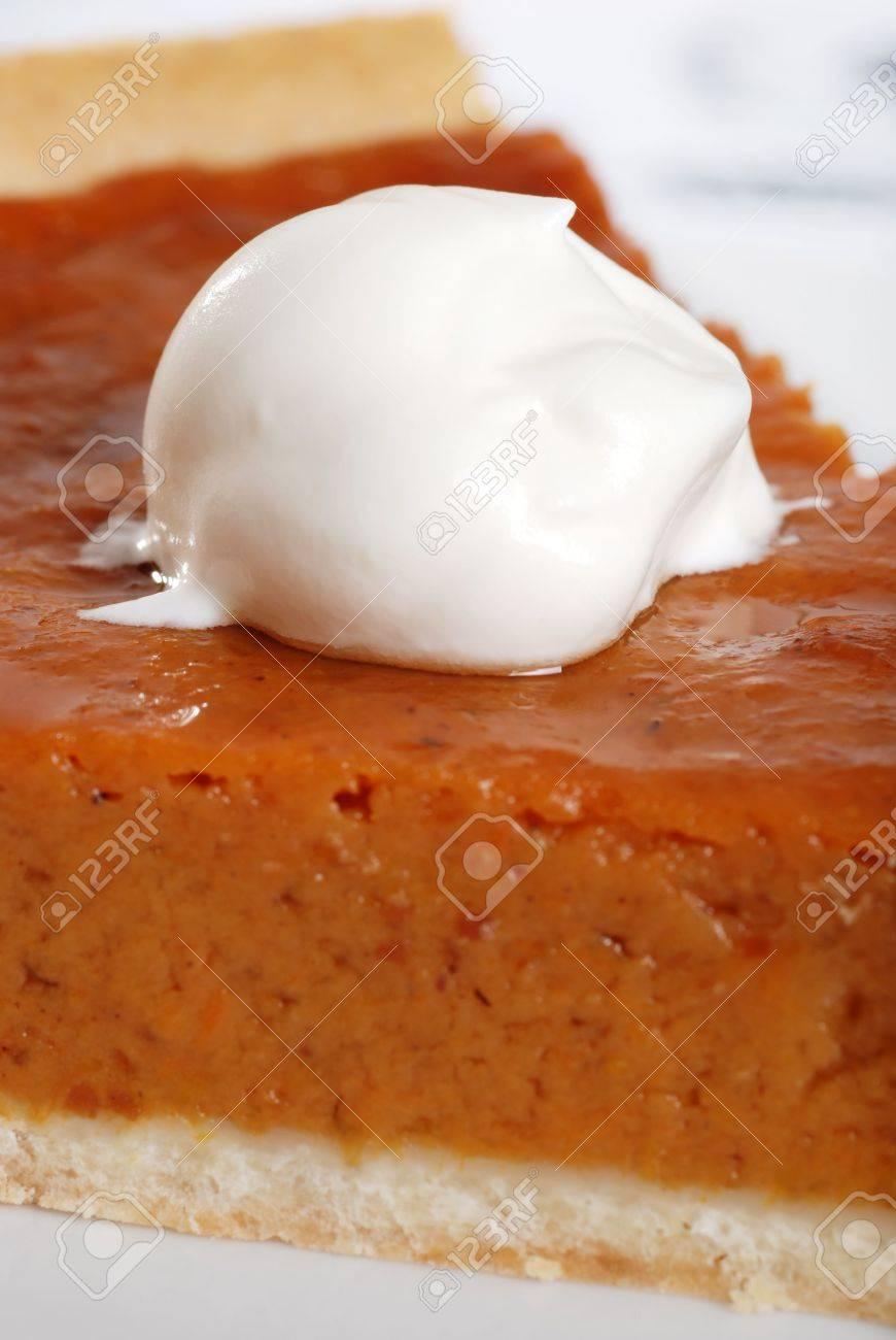 macro whip cream on pumpkin pie Stock Photo - 5720670