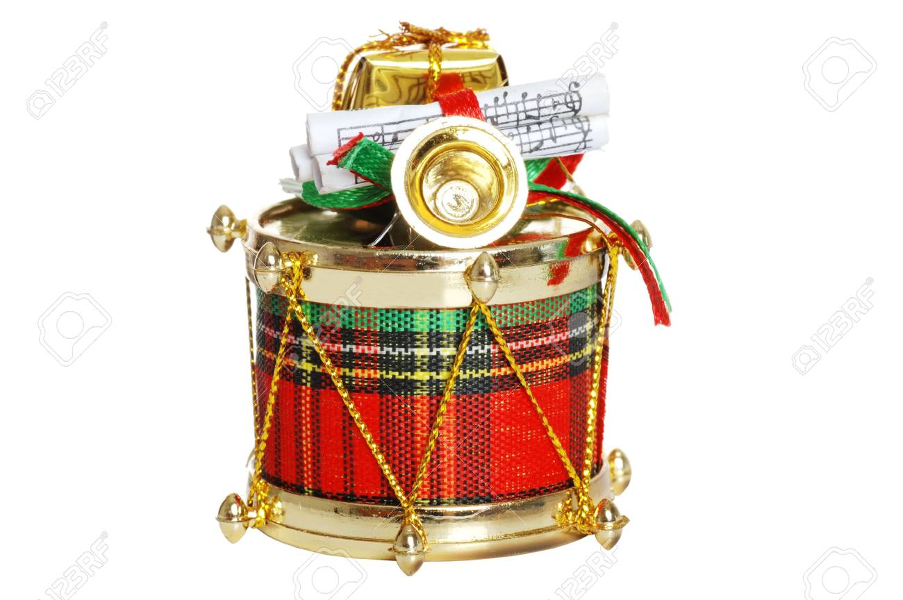 Christmas Drum.Isolated Decorated Christmas Drum