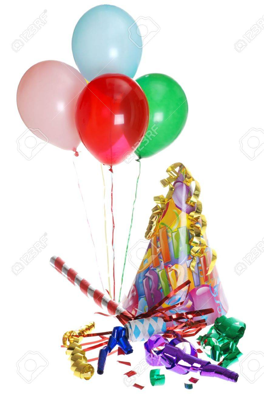 Birthday Party Supplies With Balloons Stock Photo, Picture And ...