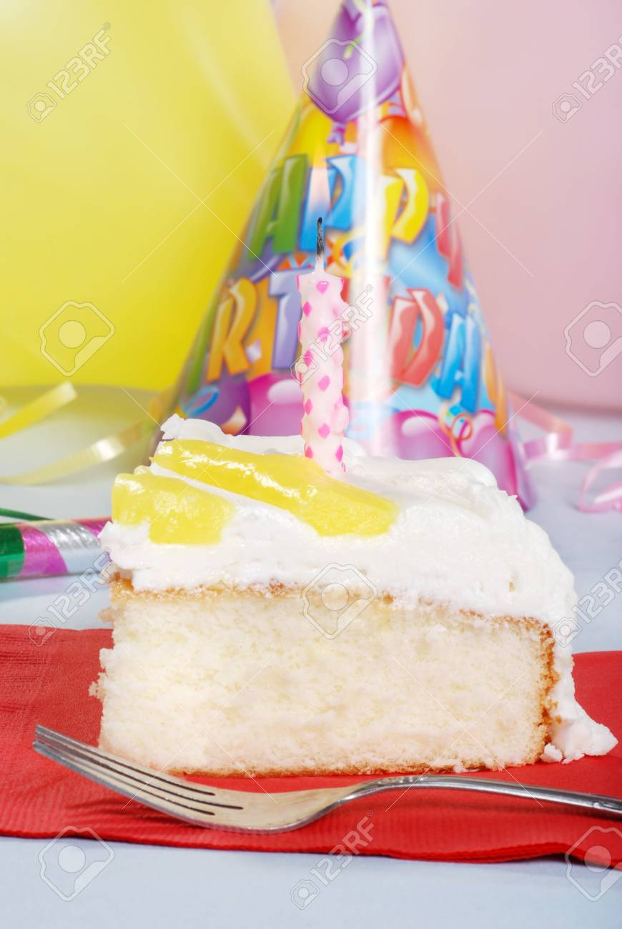 Lemon Birthday Cake With Fork Stock Photo Picture And Royalty Free