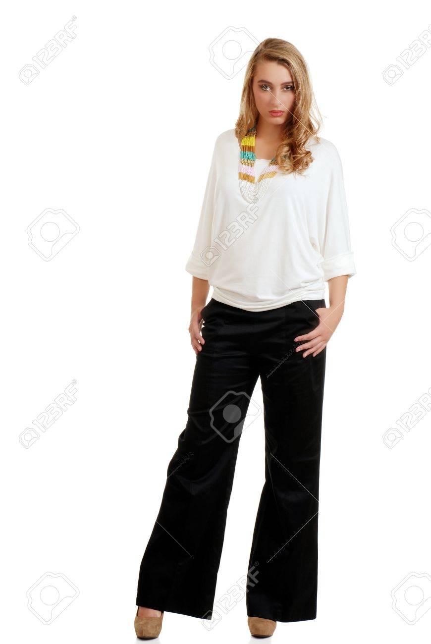 white top black pants - Pi Pants