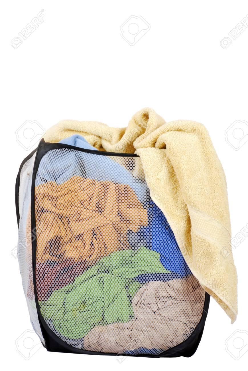 isolated basket of laundry Stock Photo - 10616454
