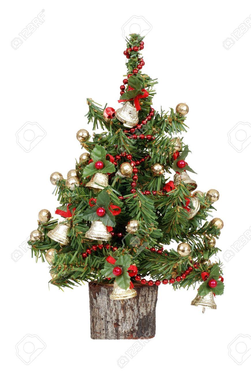 Small decorated christmas tree - Stock Photo Decorated Mini Christmas Tree