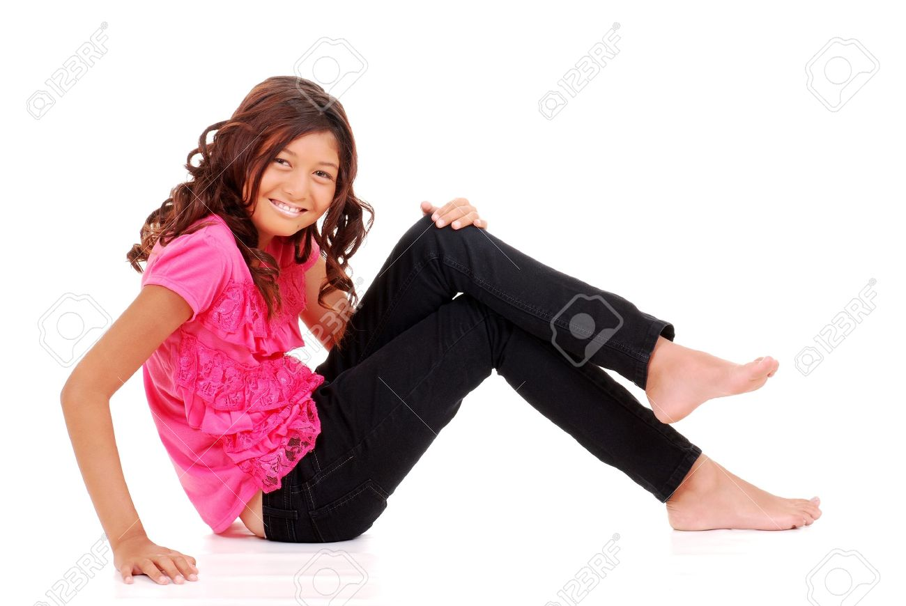 young feet Happy Young Girl Sitting Stock Photo, Picture And Royalty Free .