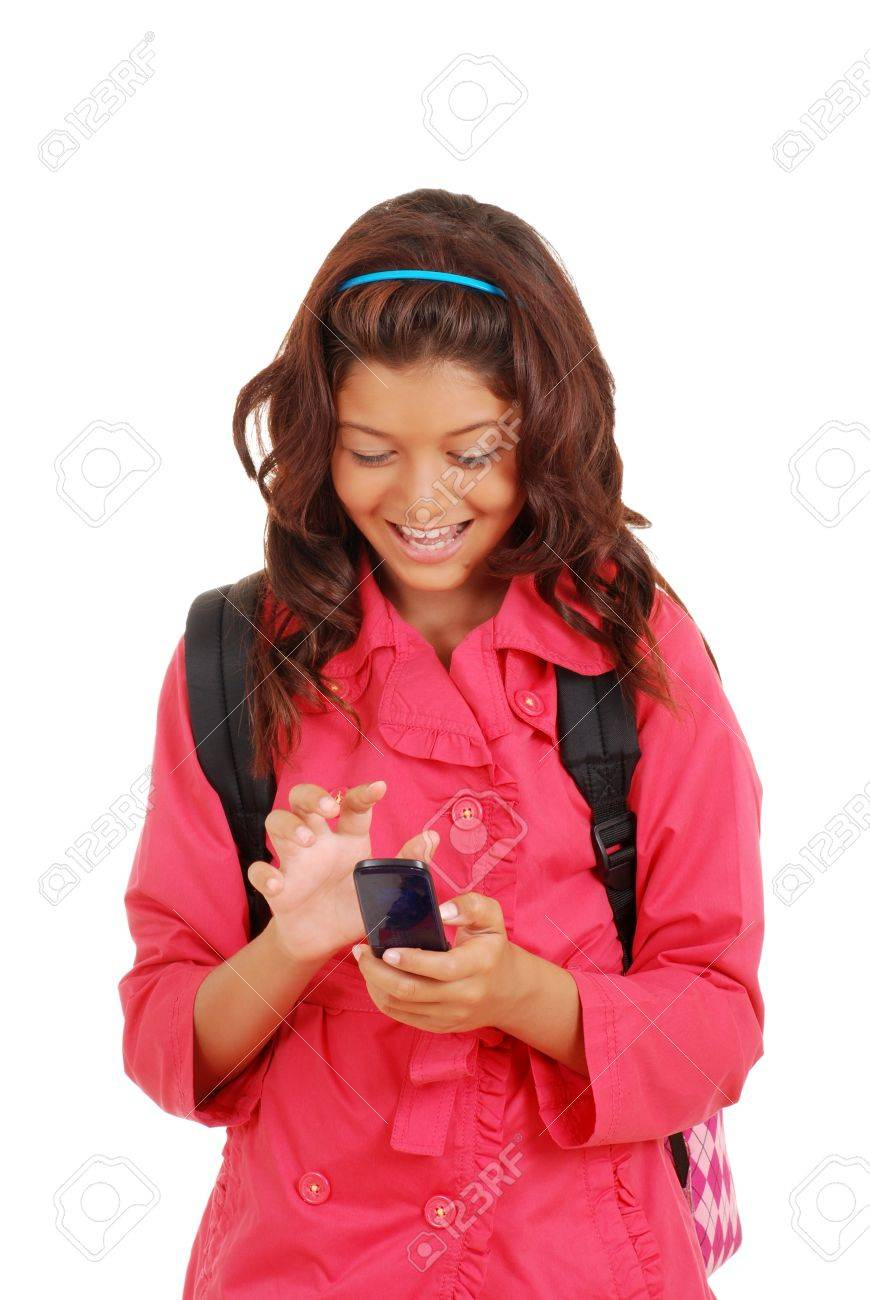 Laughing young girl with cell phone - 14715266