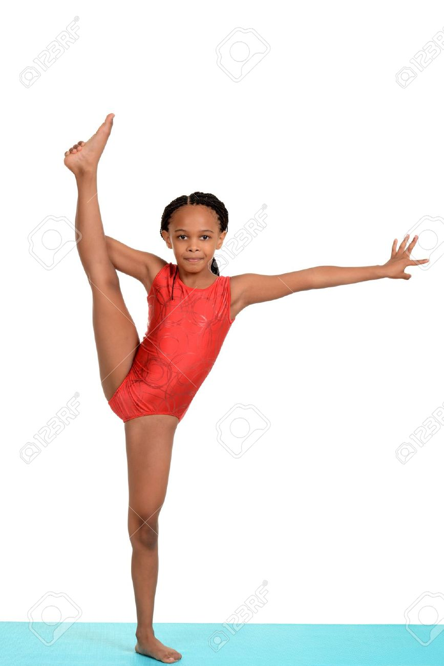 preteen stretch Black child doing gymnastics split Stock Photo - 15573747