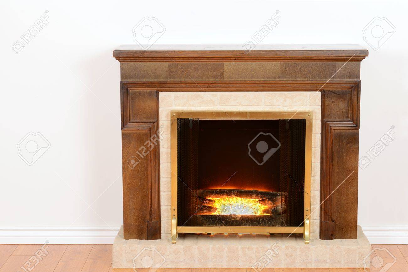 fireplace with fake fire - 16246743
