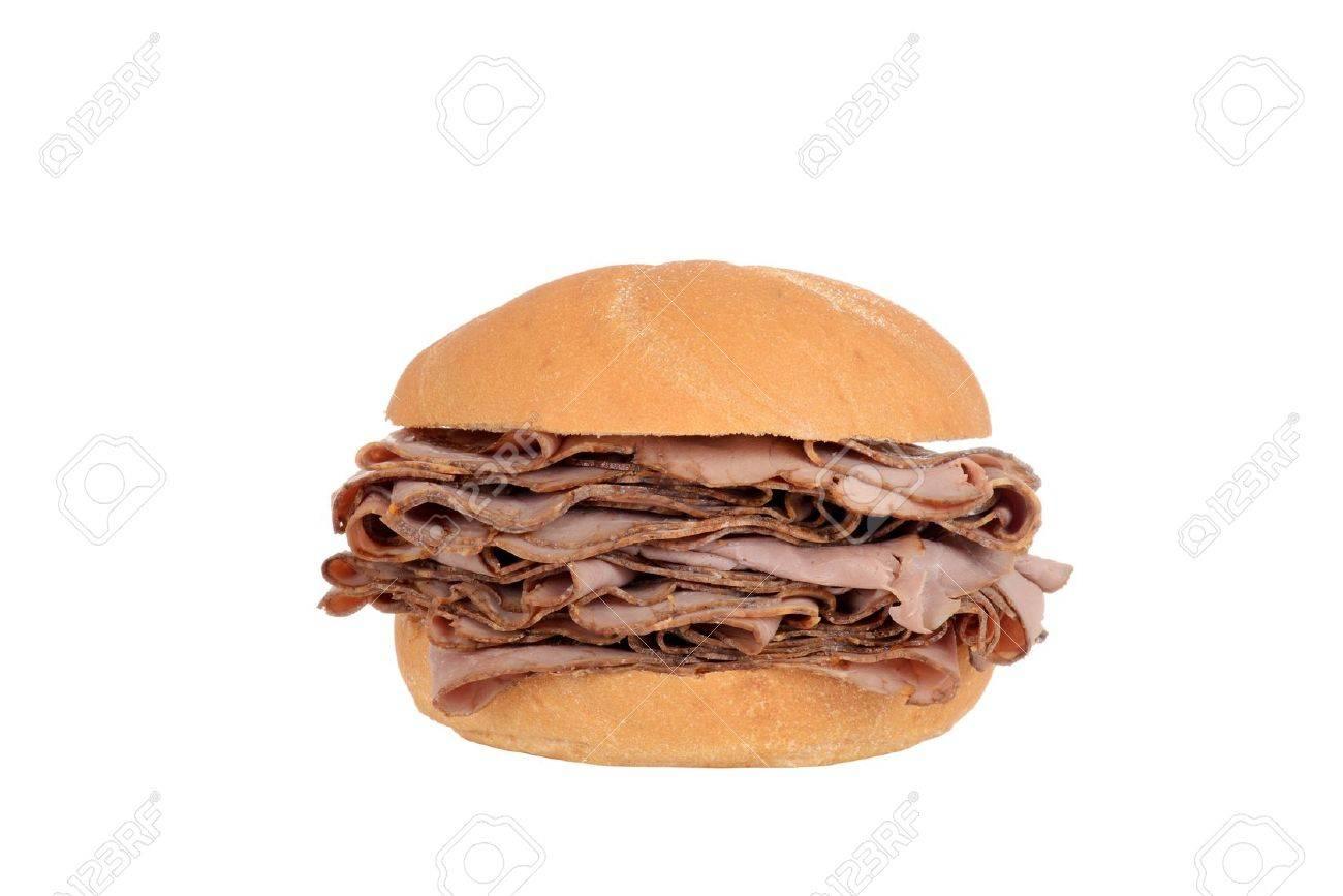 Large roast beef on a bun sandwich - 17178721
