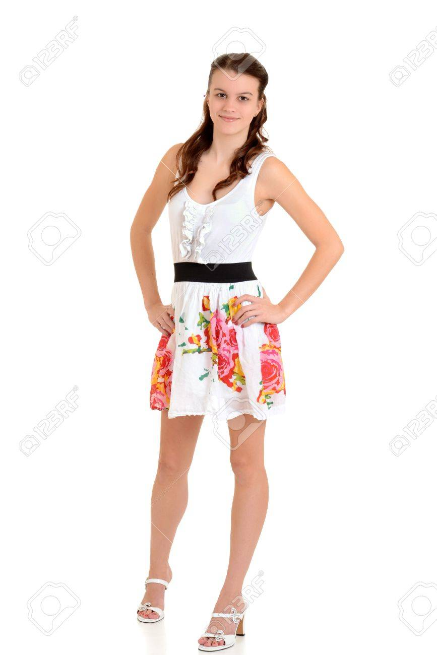 elegant and graceful outlet sale store Teen girl in flower summer dress