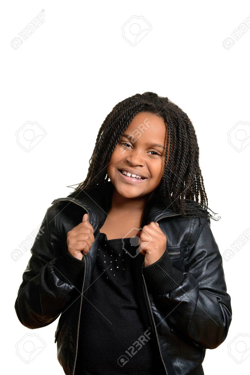 Little Girl Wearing Black Leather Jacket Stock Photo, Picture And ...
