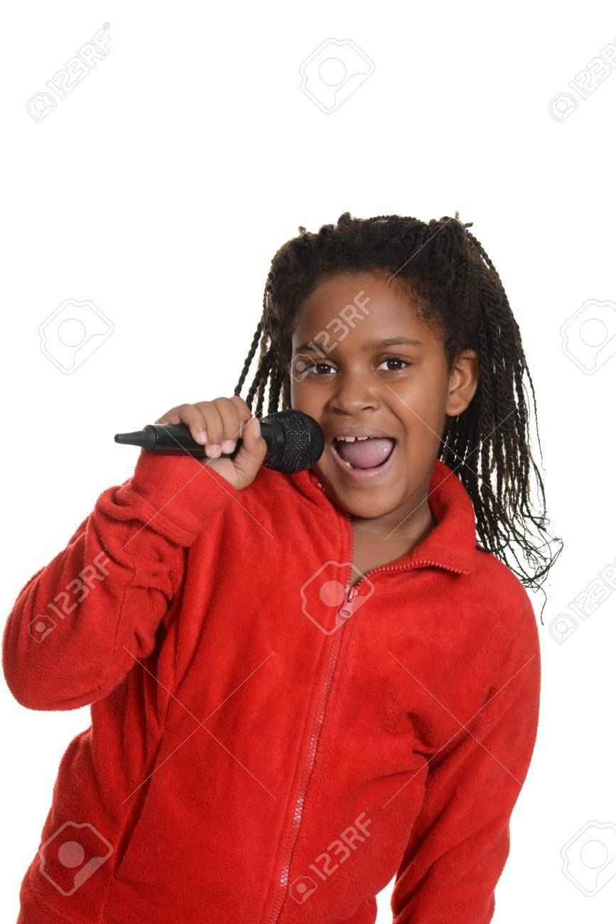 young jamaican girl with microphone - 24138974