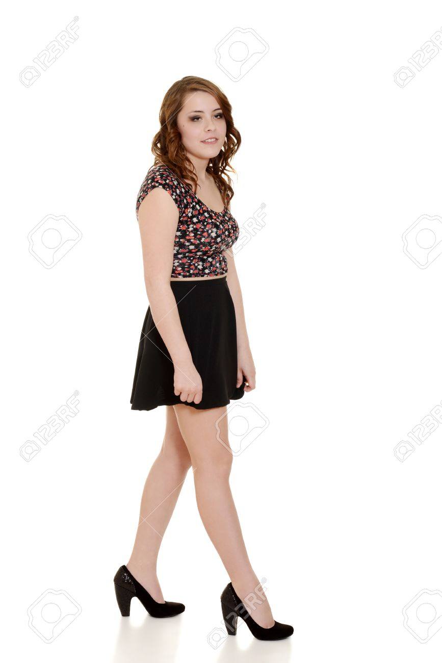 Teen Girl Wearing Short Black Skirt Stock Photo, Picture And ...