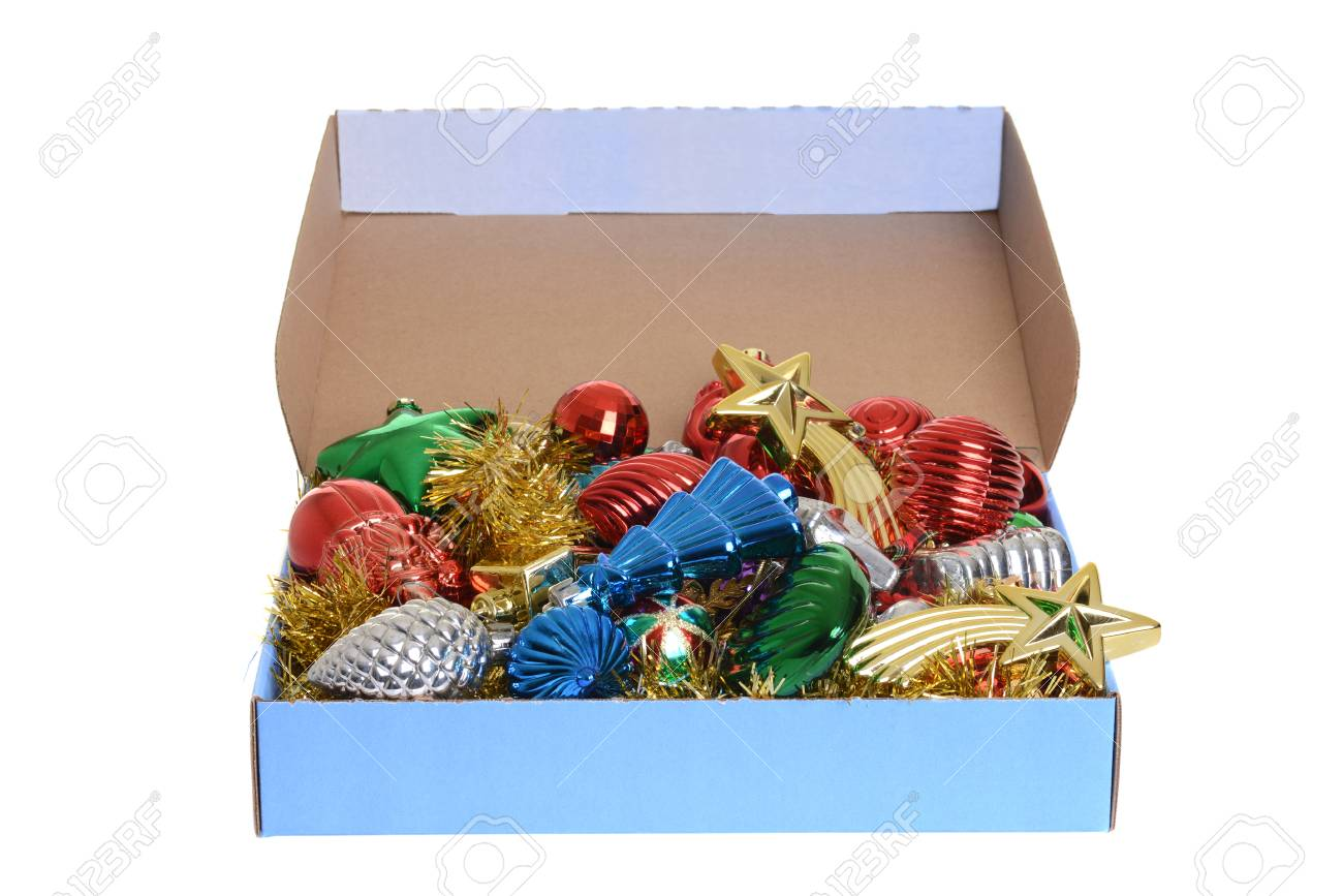 Antique Christmas Ornaments >> Box Of Antique Christmas Ornaments Stock Photo Picture And Royalty