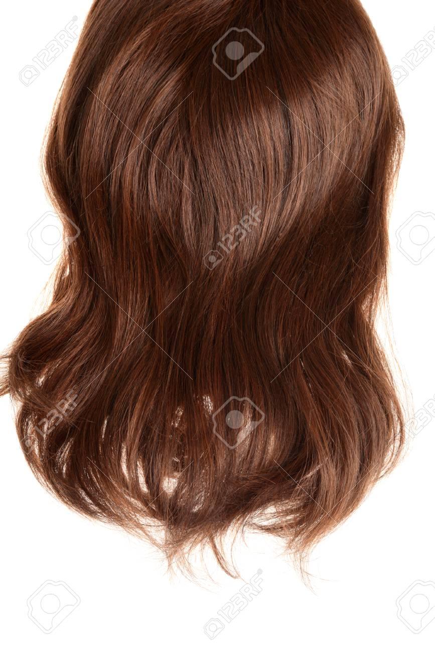 back of brunette hair wig isolated