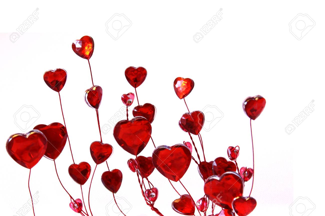 Valentines Day Ornaments Red Hearts On White Isolated Background