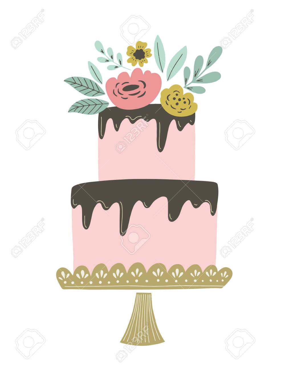 Excellent Wedding Cake Vector Illustration With Chocolate Frosting And Birthday Cards Printable Opercafe Filternl
