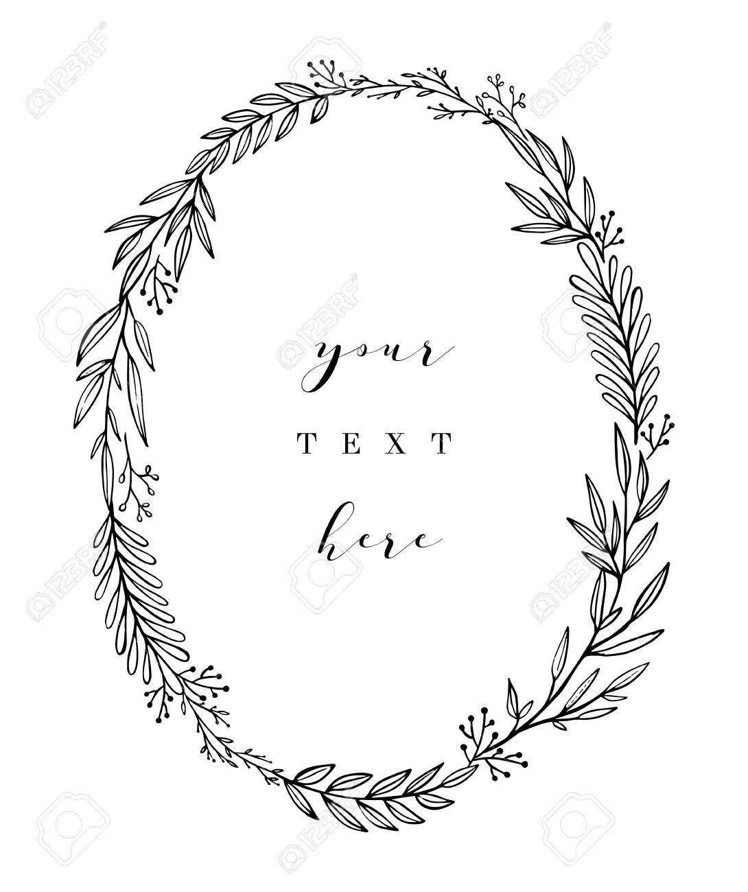 Hand drawn wreath. Vector floral design elements for invitations, greeting cards, scrapbooking, posters. Vintage decorative laurel, oval frame made of twigs, leaves and branches. - 129294517