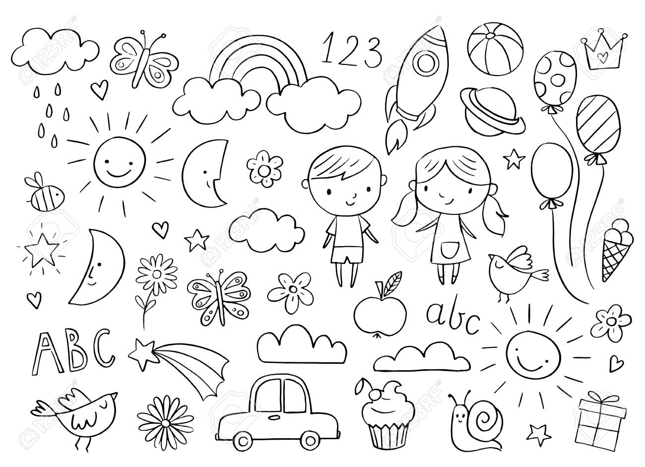 Vector handdrawn kids doodle set. Drawings for children on white background. Baby shower related design elements set. - 139086407
