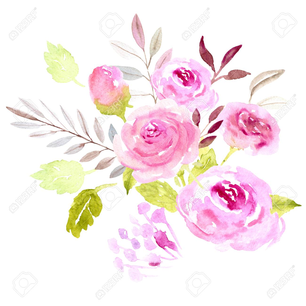 Hand Painted Watercolor Bouquet Illustration Rose Pink Flowers And