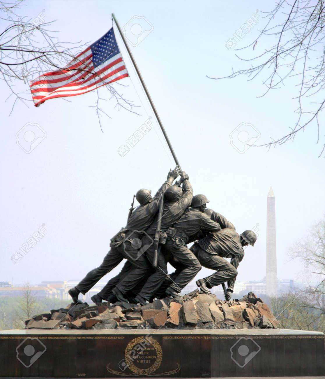 Iwo Jima Memorial in Arlington is dedicated to the U.S. Marines Stock Photo - 373002