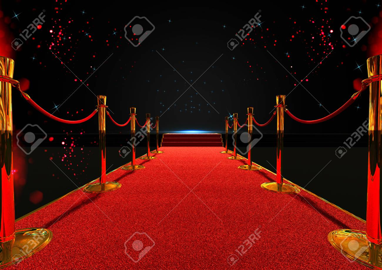 long red carpet between rope barriers with stair at the end - 101789514
