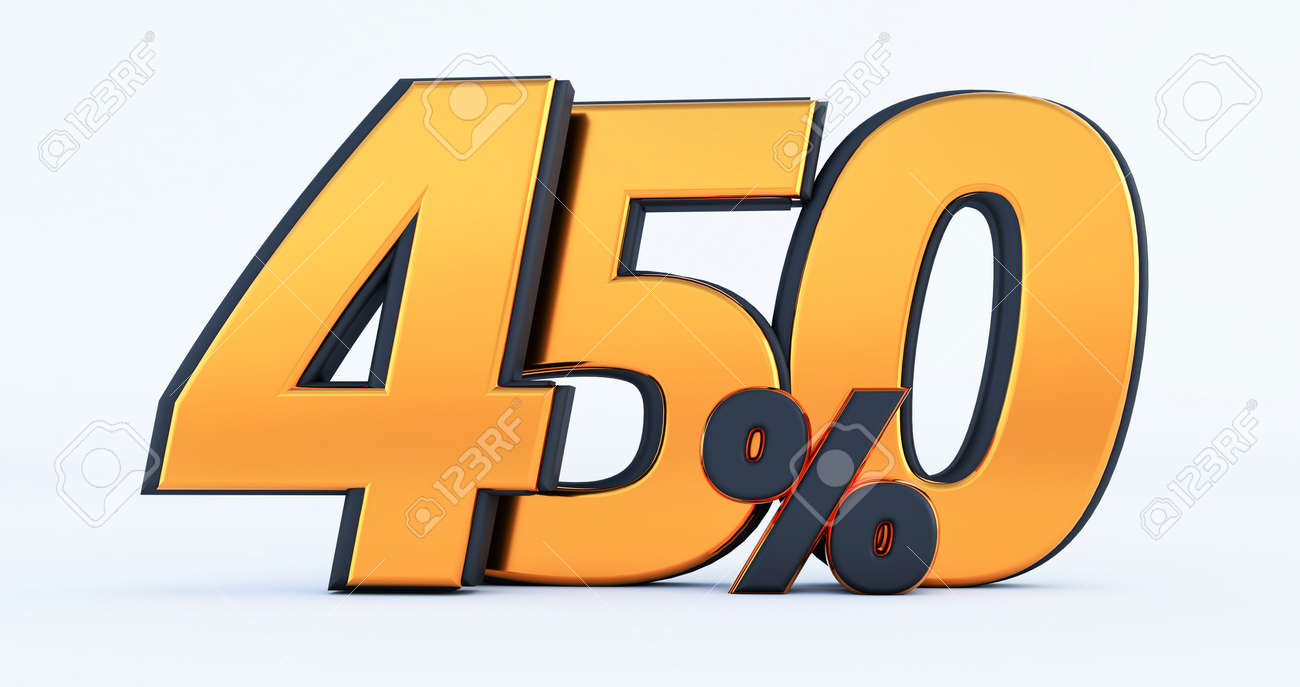 two hundred 200% off on sale. Gold percent isolated on white background. 3d render of a Gold two hundred percent - 171558603