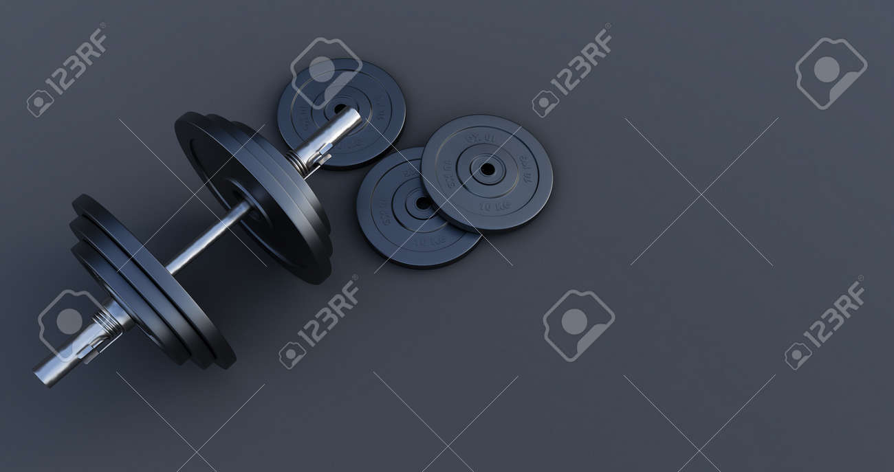 3d render of Stylish Iron Barbell, dumbbell isolated on black background. High resolution, Gym equipment, - 171319250