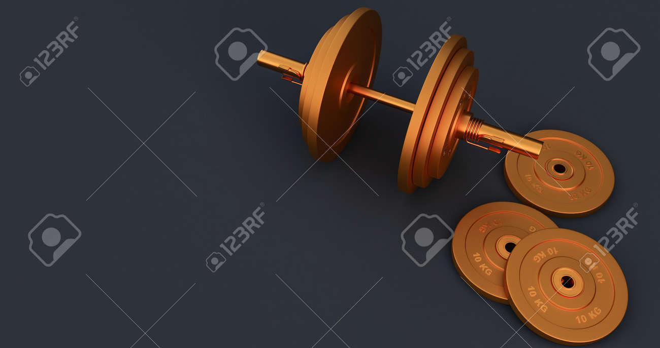 3d render of golden Iron Barbell, dumbbell isolated on black background. High resolution, Gym equipment, - 171319251