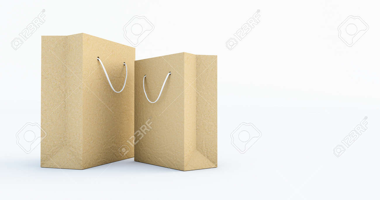 3d render of Paper Bag Template with handle rope, Isolated on white background - 171319256