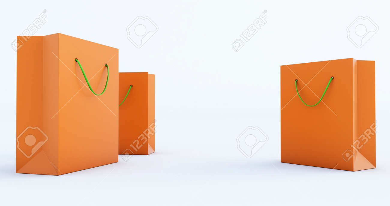 3d render of orange Paper Bag Template with green handle rope, Isolated on white background - 171319258