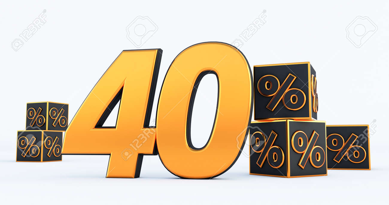 gold forty 40 percent number with Black cubes percentages isolated on white background. 3d render - 171329704