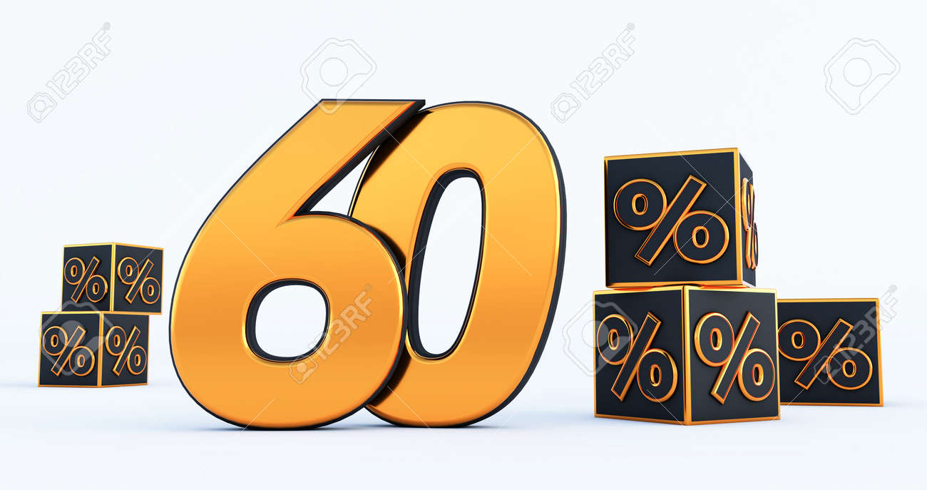 gold sixty 60 percent number with Black cubes percentages isolated on white background. 3d render - 171329706