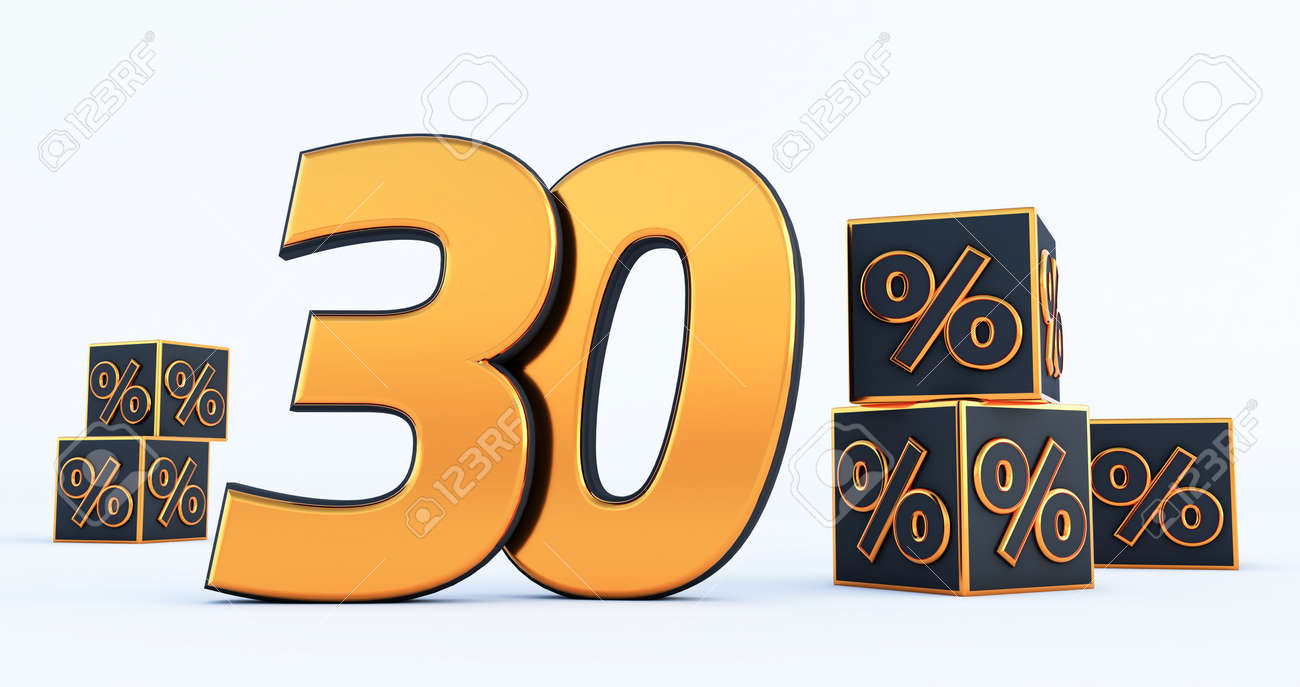 3d render of Discount seventy 70 percent off isolated on white background - 171329707
