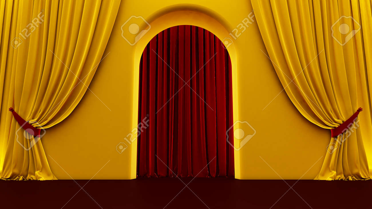 3d render of walkway arch, yellow hallway, Long tunnel with arches and red carpet - 171444639