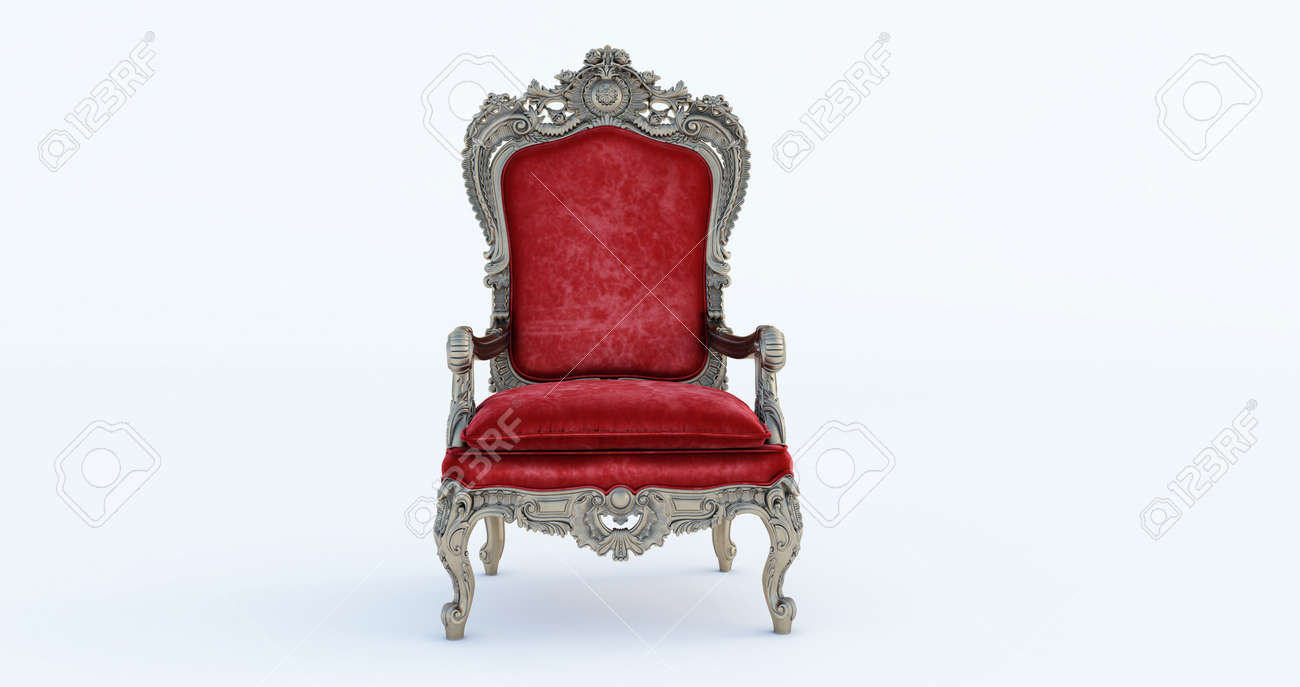 3D render of Classic baroque armchair throne in bronze and beige colors isolated on white background. - 171461904