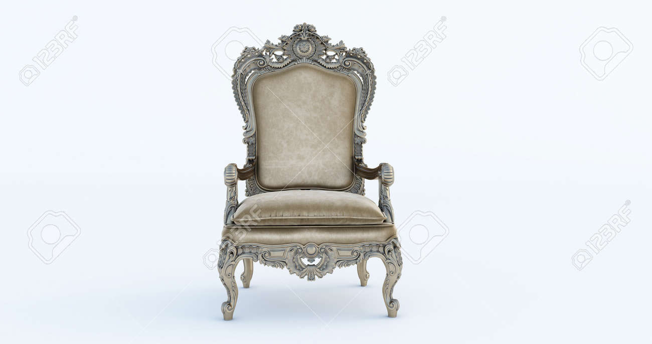 3D render of Classic baroque armchair throne in bronze and beige colors isolated on white background. - 171461927