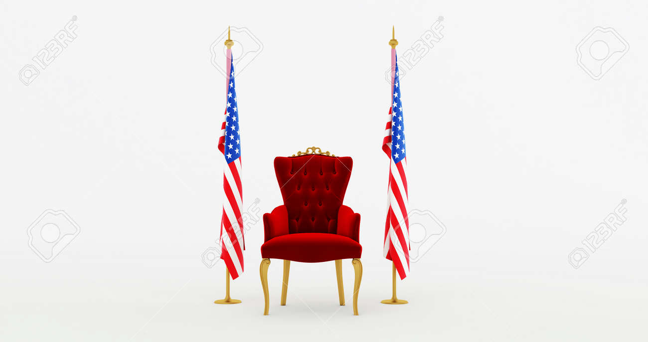 Red royal chair on a background of black curtains. 3d render - 171491959