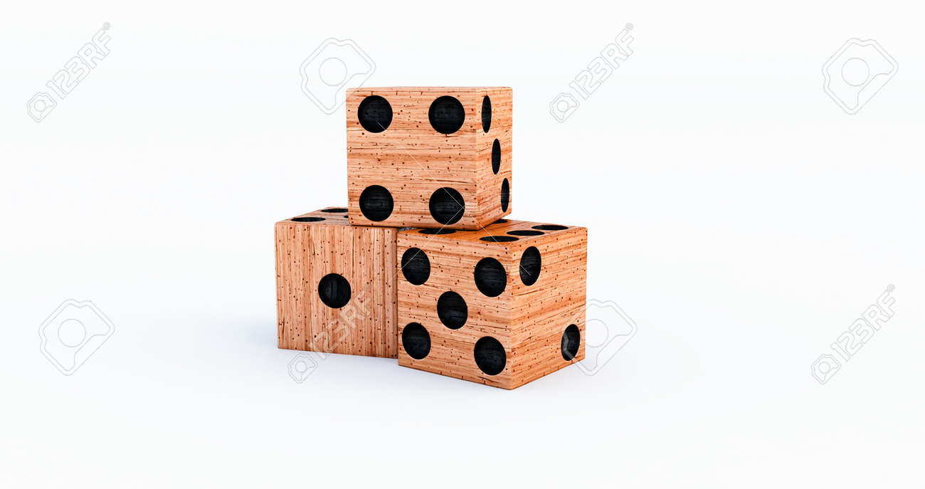 3d render of orange Casino dice on a white background. - 171469818