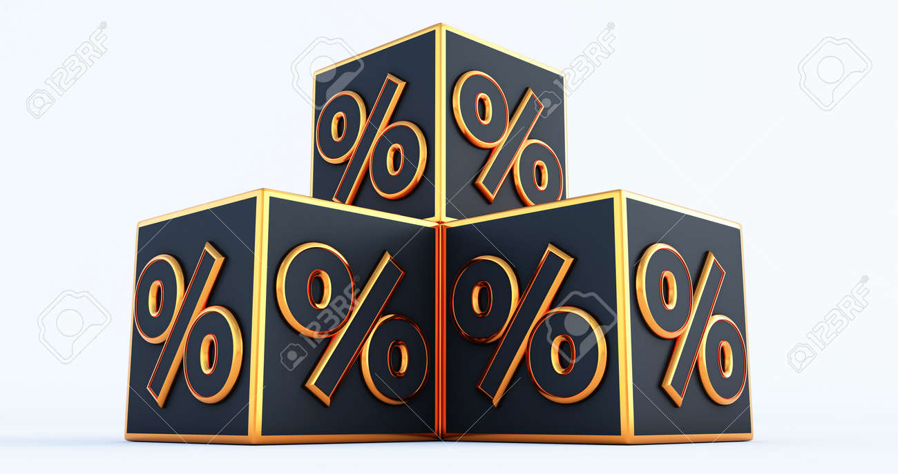 3D discount boxes dice for store market and shop isolated on white background. 3d render - 171491966